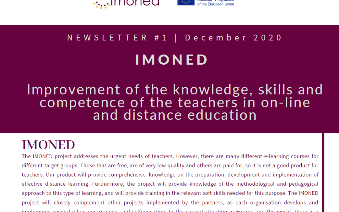 The IMONED project about online education publishes its first newsletter